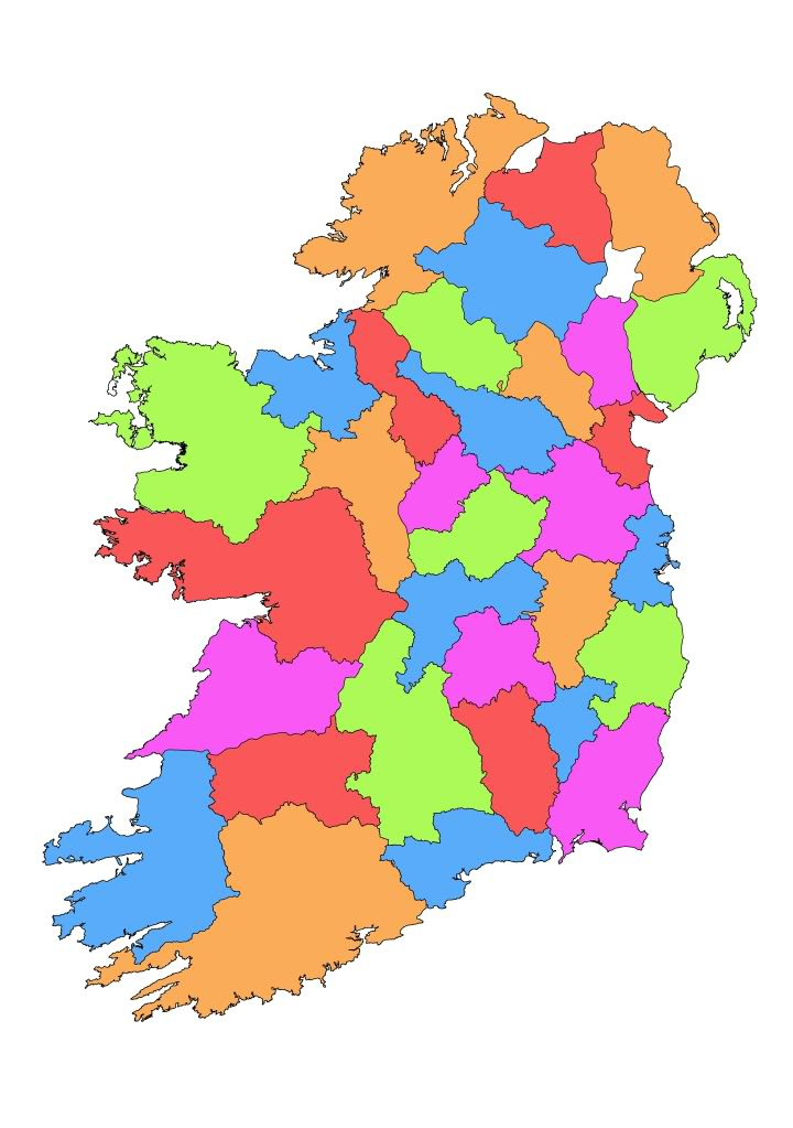 County map of Ireland PowerPoint - boards. - ClipArt Best ...