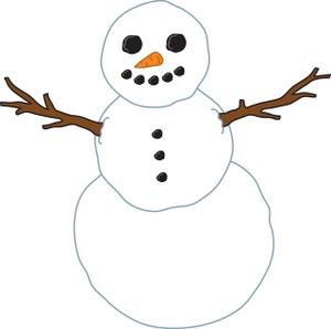 Free Snowman Clipart Image - Snowman with Stick Arms, Carrot Nose ...