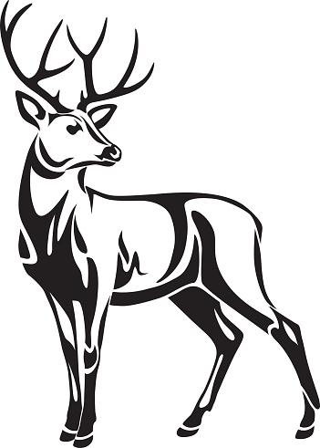 Deer Vector Art on whitetail deer silhouette clip art
