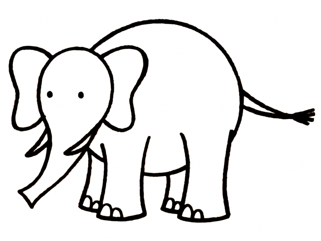 Clipart Animal Simple Line Drawing : Very simple elephant drawing clipart best