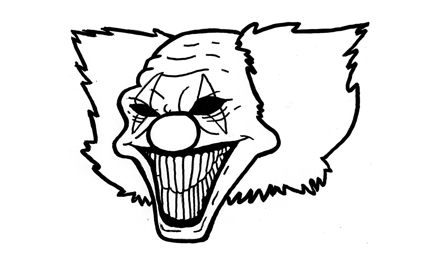 draw a scary clown clipart best