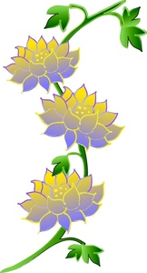 Lotus Flower Clipart Image - Beautiful Lotus Flowers On A Vine Flower Vine Clipart
