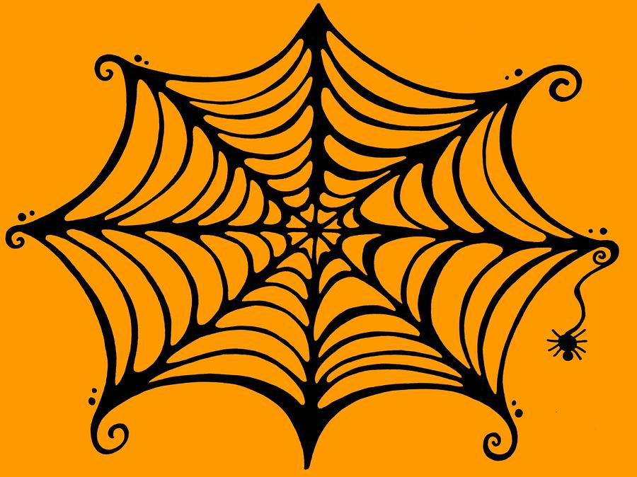 Spider in web drawing - photo#22