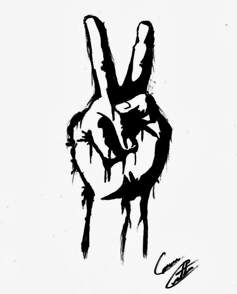 Peace Hands Drawing Peace Sign Fingers Drawing