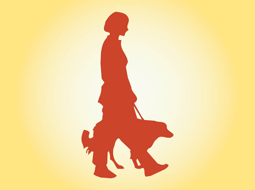 clipart girl walking dog - photo #22