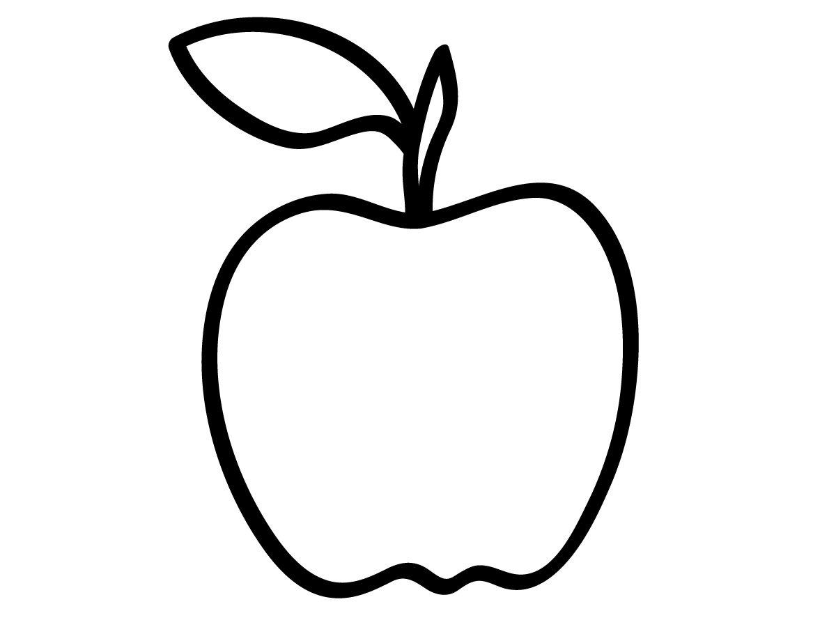 Apple Computer Coloring Pages : Apple outline drawing clipart best