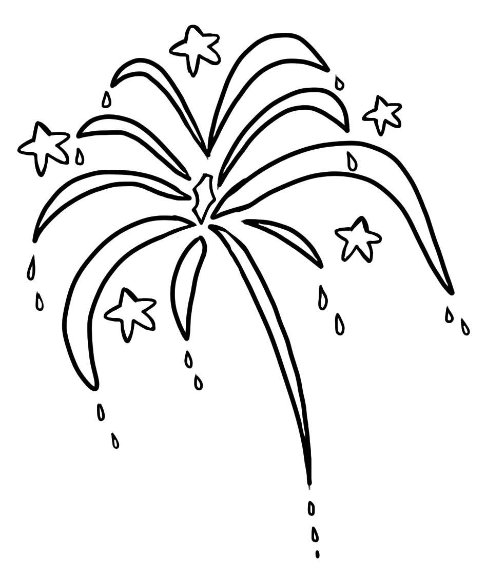 Fireworks Line Art