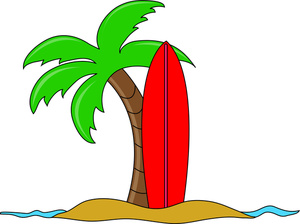 Surfing Clipart Image - Surfboard Leaning up against a Palm Tree ...