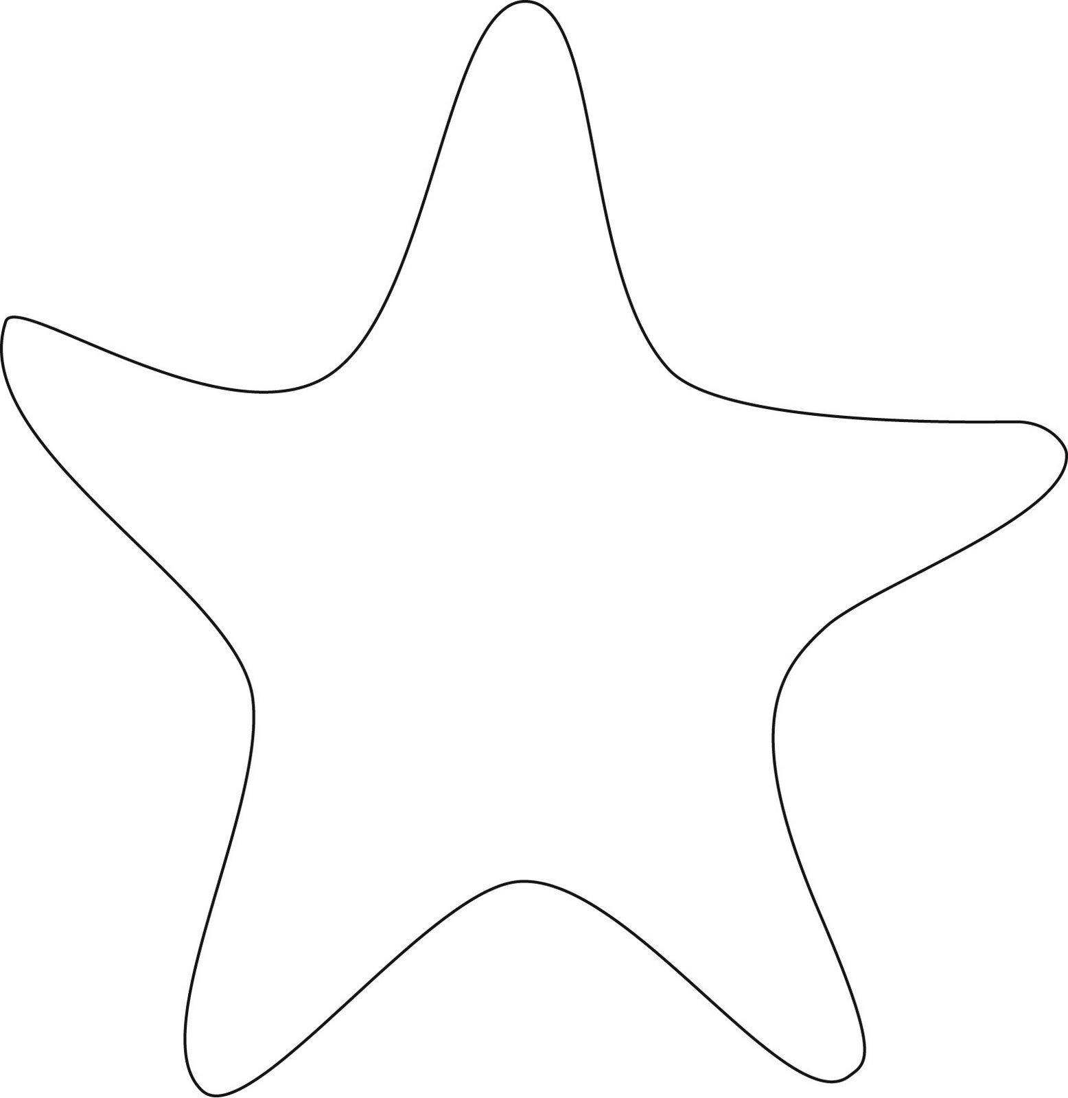 Starfish outline clipart best for Printable fish template