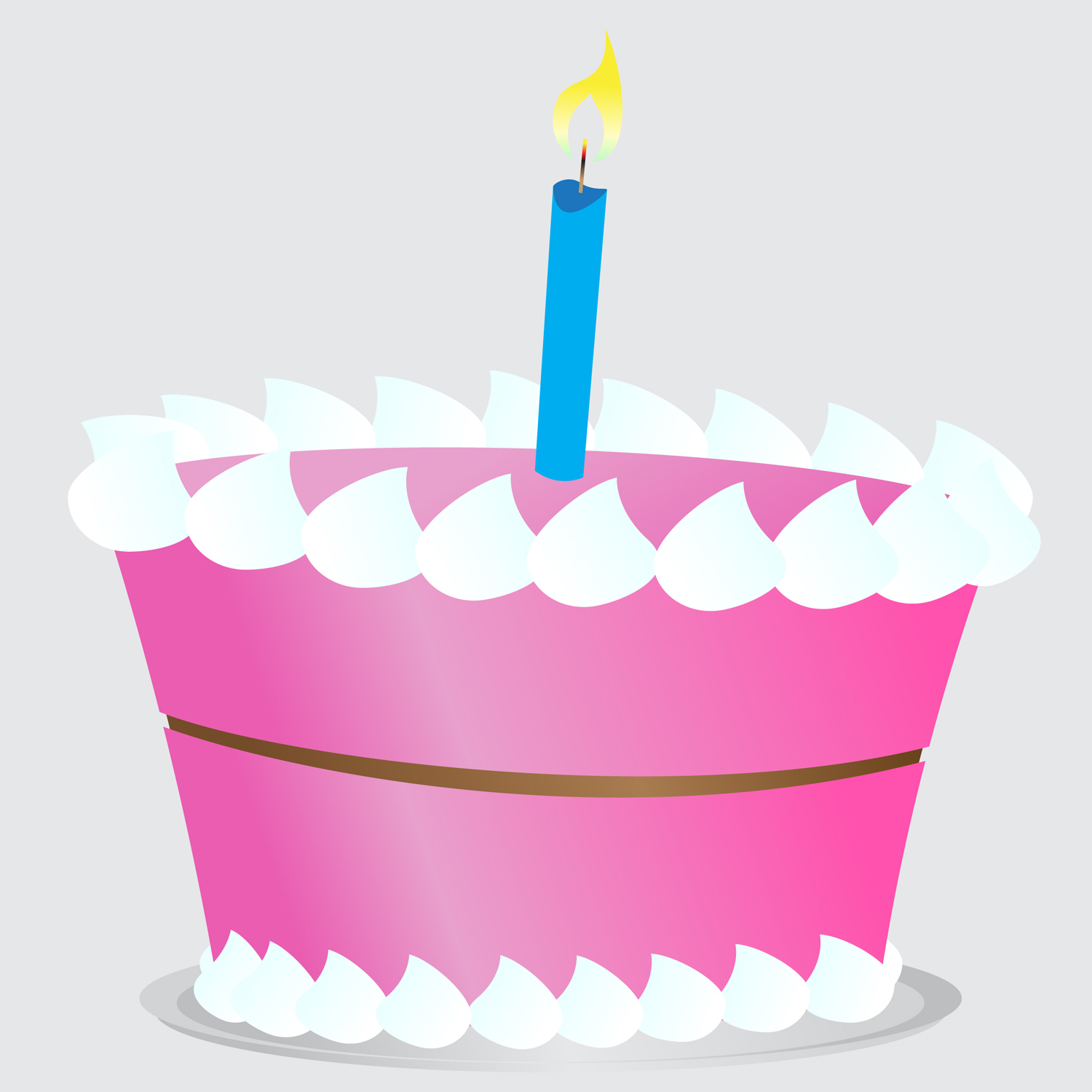 Birthday Cake Clipart Simple Vector Illustration Of A Pink ...
