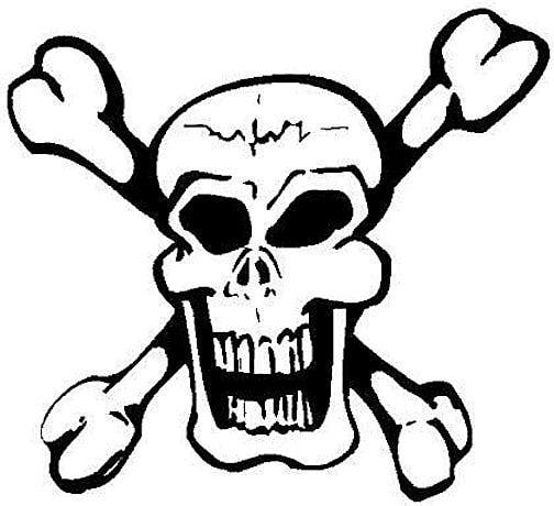 skull and crossbones coloring page - printable skull pictures clipart best