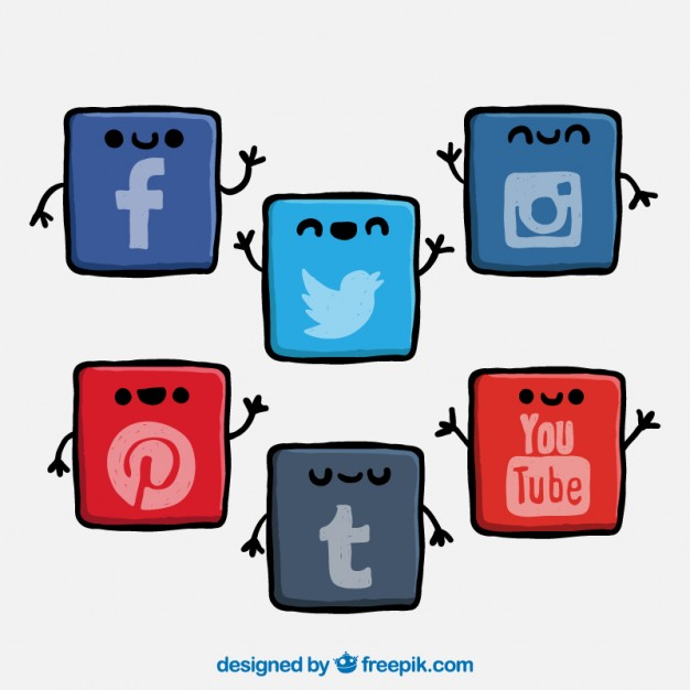 Cute social network icons Vector | Free Download