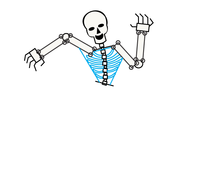 how to draw a skeleton easy