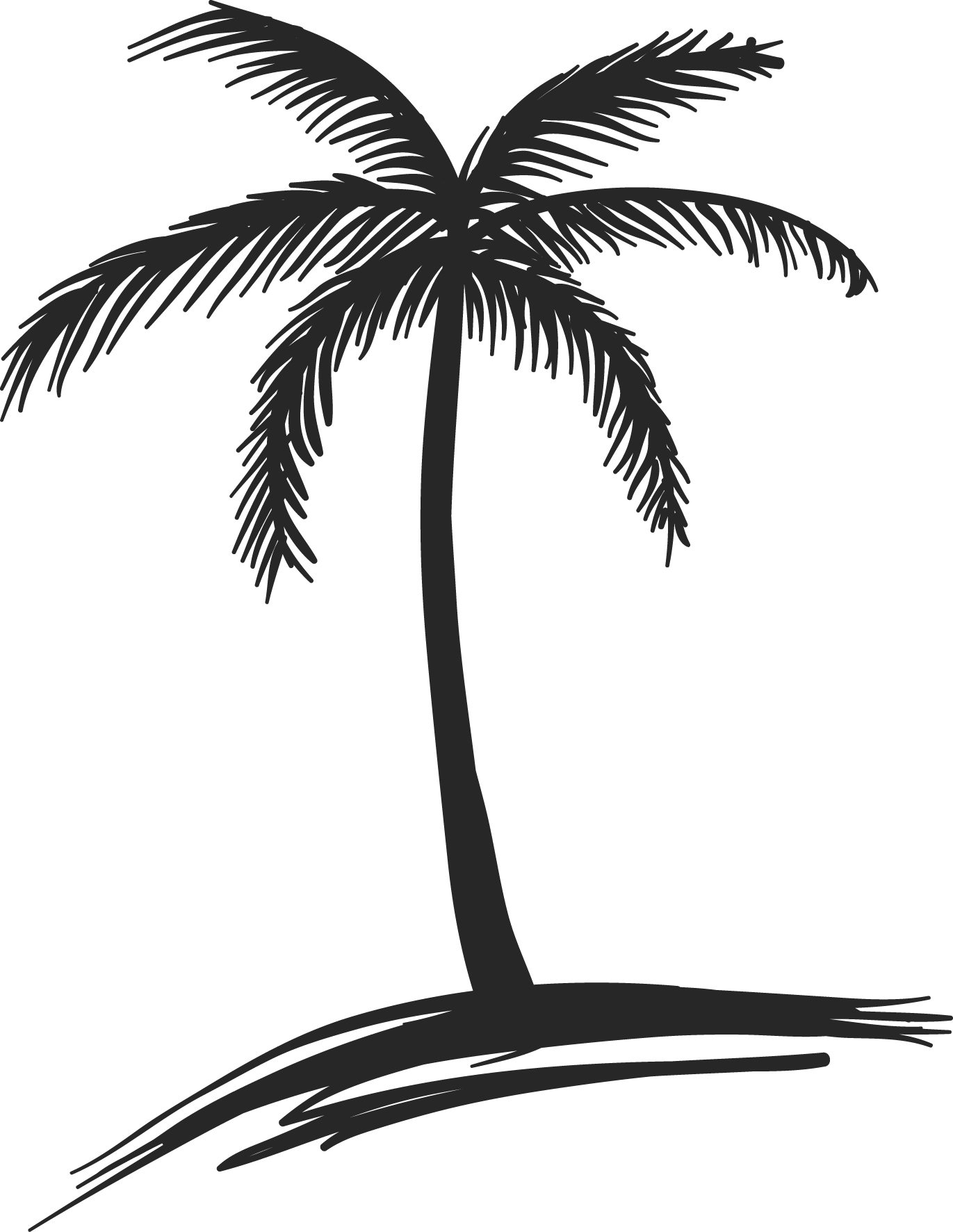 Coconut Tree Clipart Black And White - ClipArt Best