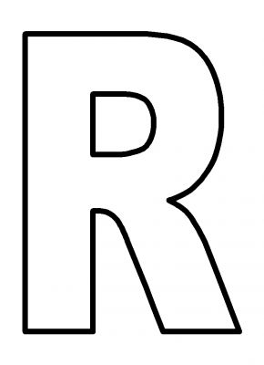 R In Bubble Letters on letter e template