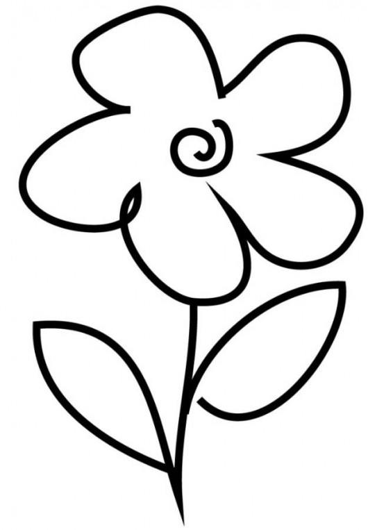 easy flower coloring pages simple flower drawings for kids clipart best