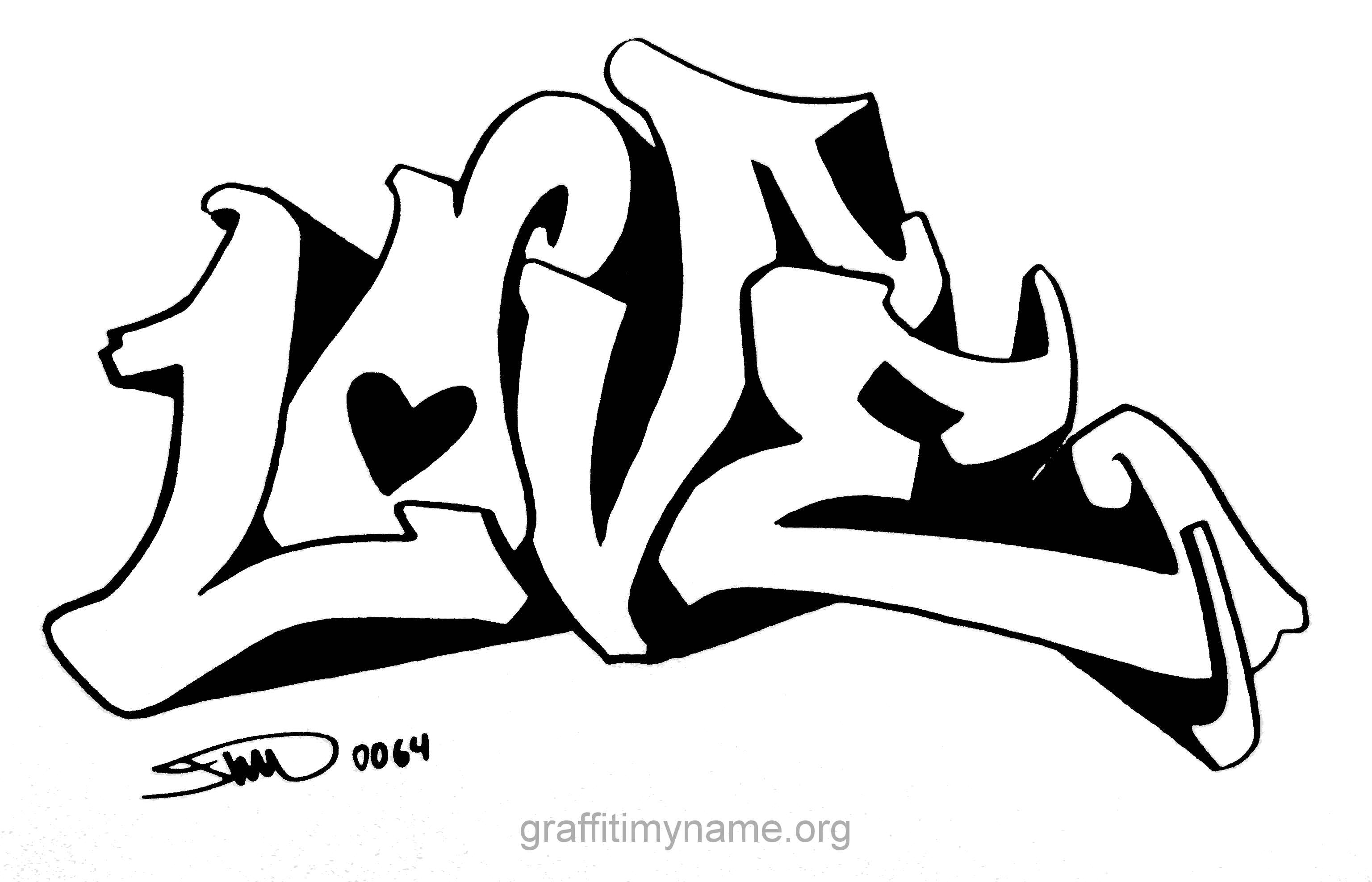 tags graffiti i you Colouring Pages