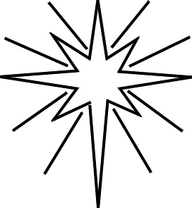 christmas star clip art black and white - photo #4
