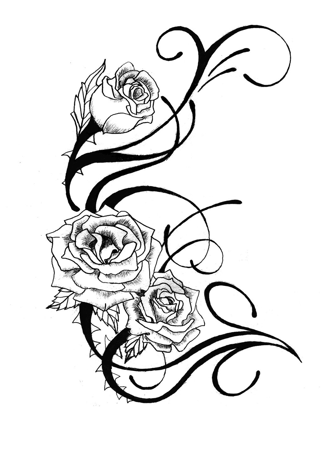 Free rose tattoos clipart best for Rose tattoo patterns