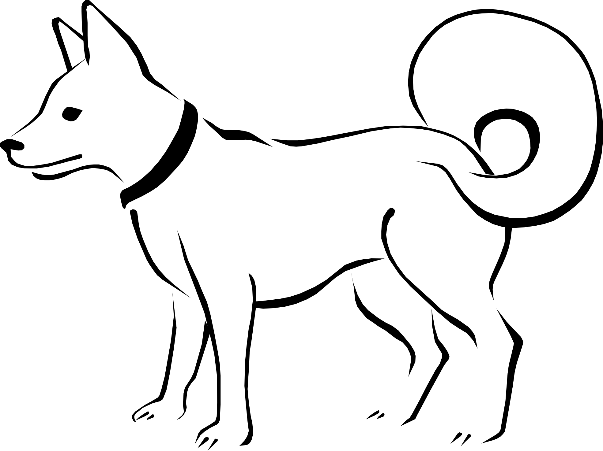 Black And White Line Drawings Of Animals : Dog drawings clip art clipart best