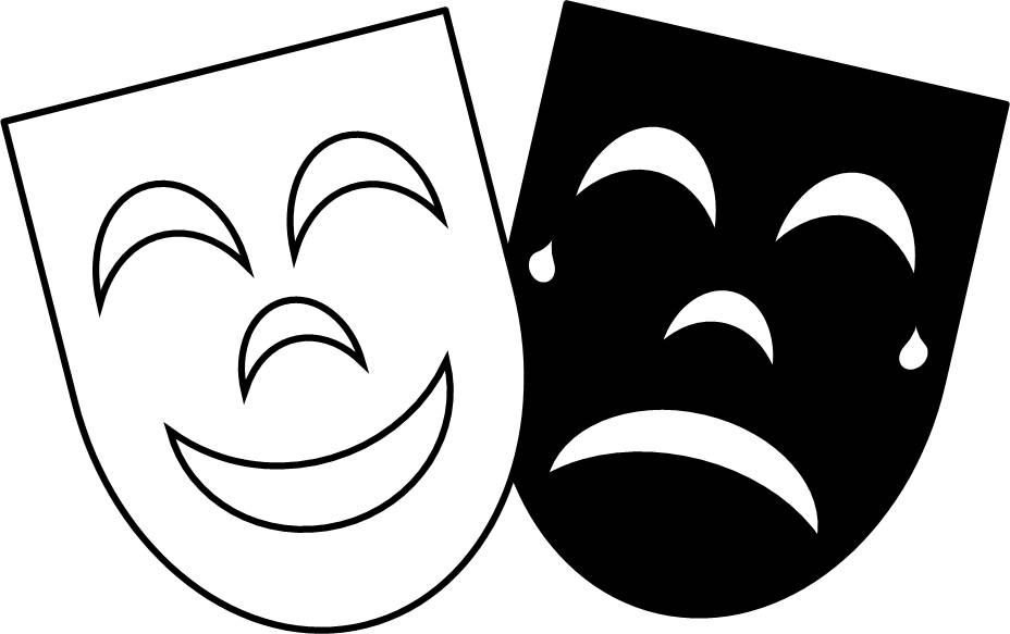 Tragedy comedy masks clipart