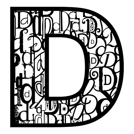 "The Letter D, white background"" by Julie Hartman 