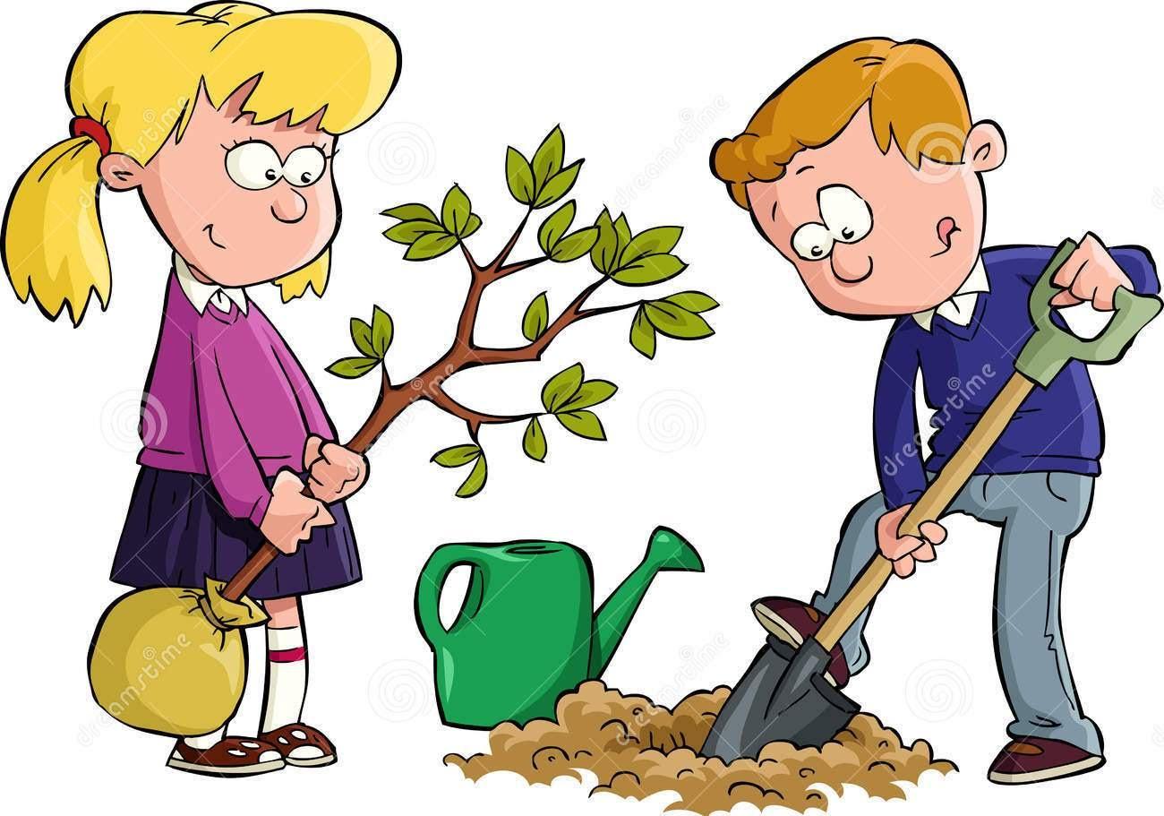 Рисунки детей сажающих деревья