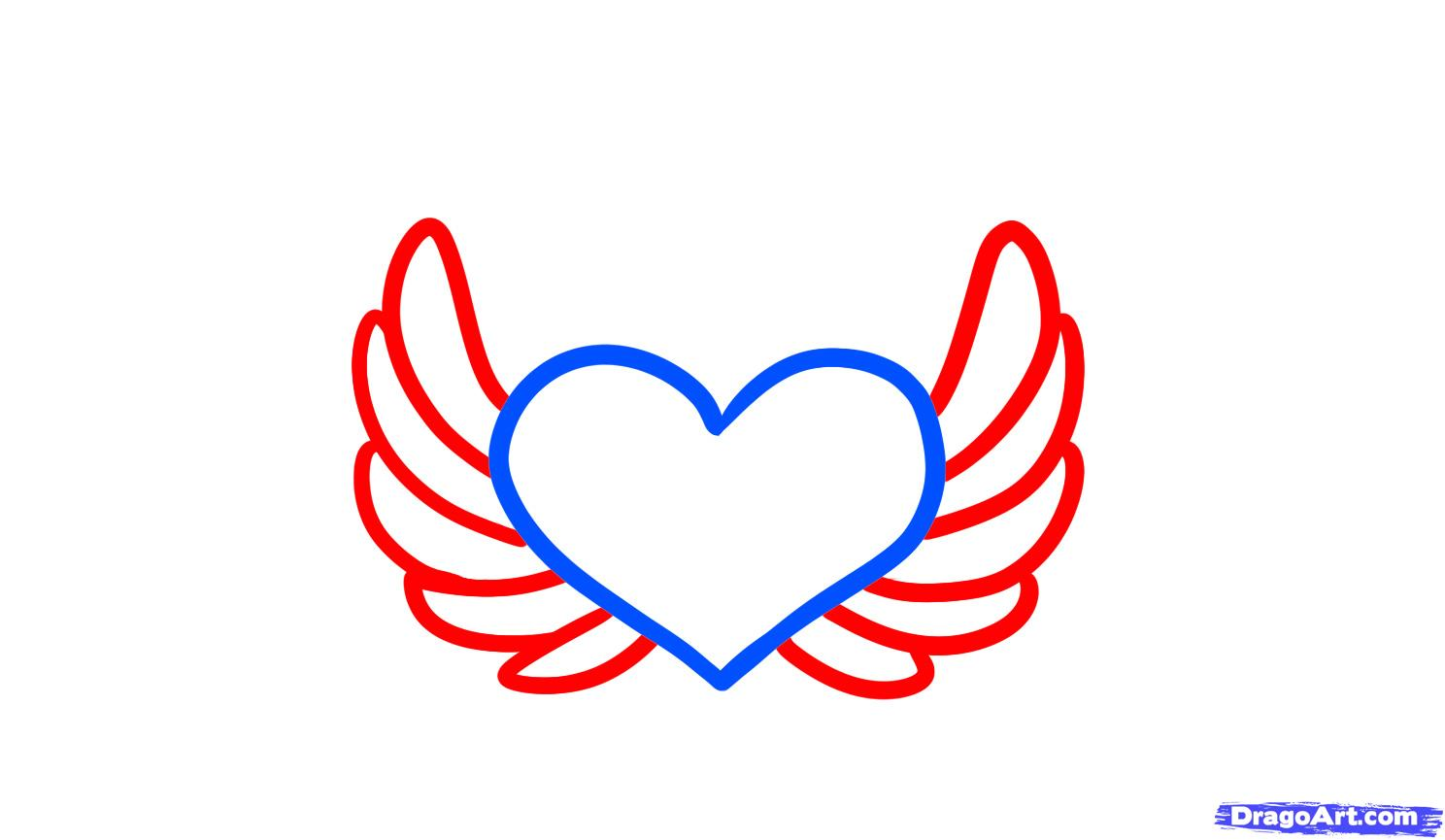 Easy Drawings Of Hearts With Wings - 59.9KB