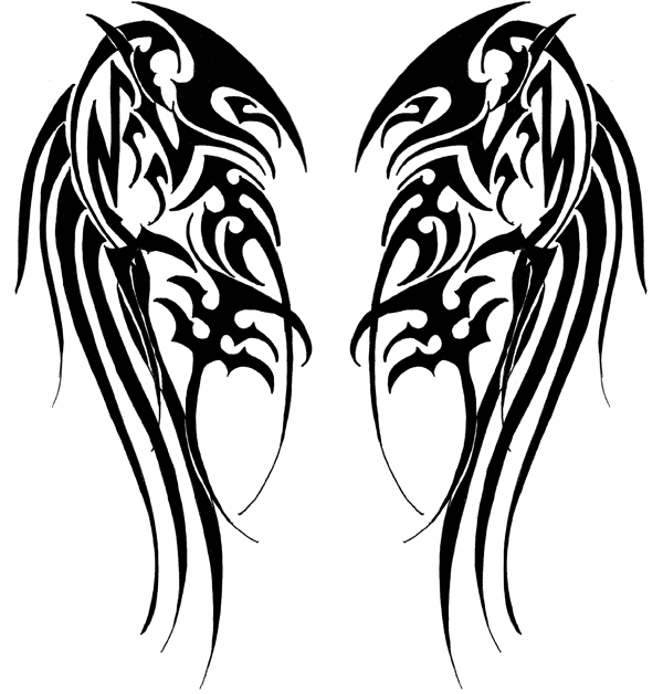 Wings Tribal Tattoo - ClipArt Best