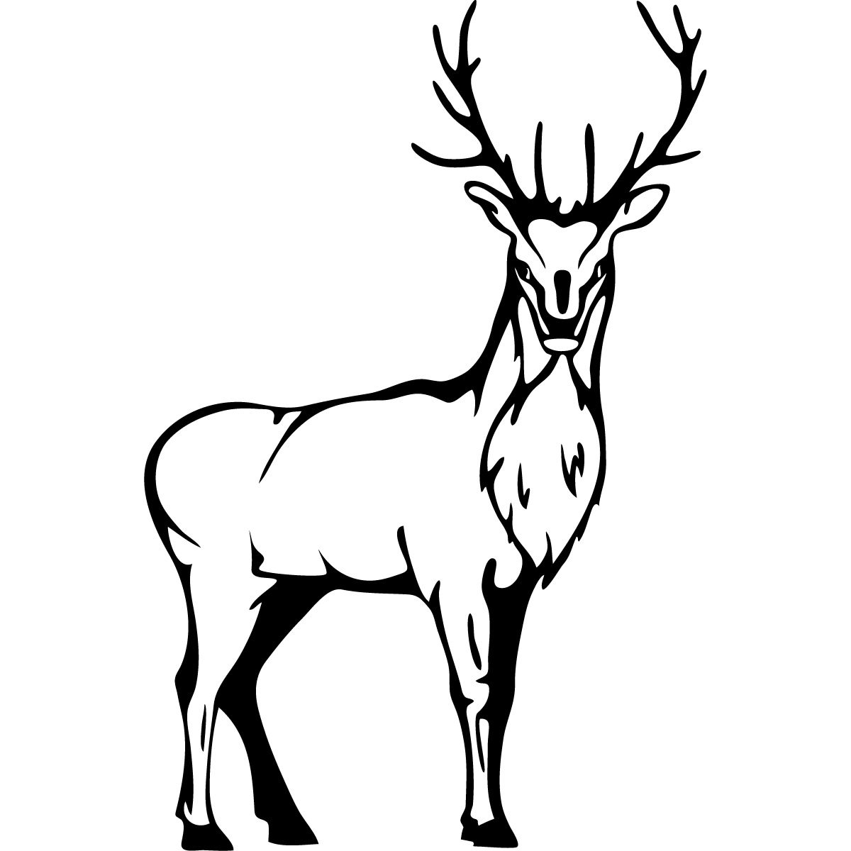 Image De Art Deer And Drawing: Stag Deer Stood Wall Art Sticker Wall Decal Transfers