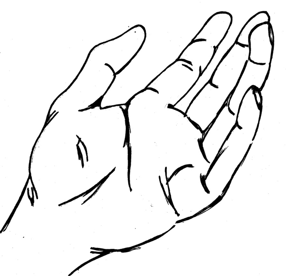 Line Art God Images : Open hands sketch clipart best