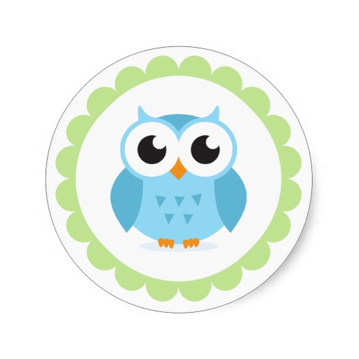 Cute Blue Owl Cartoon Inside Green Border Round Stickers