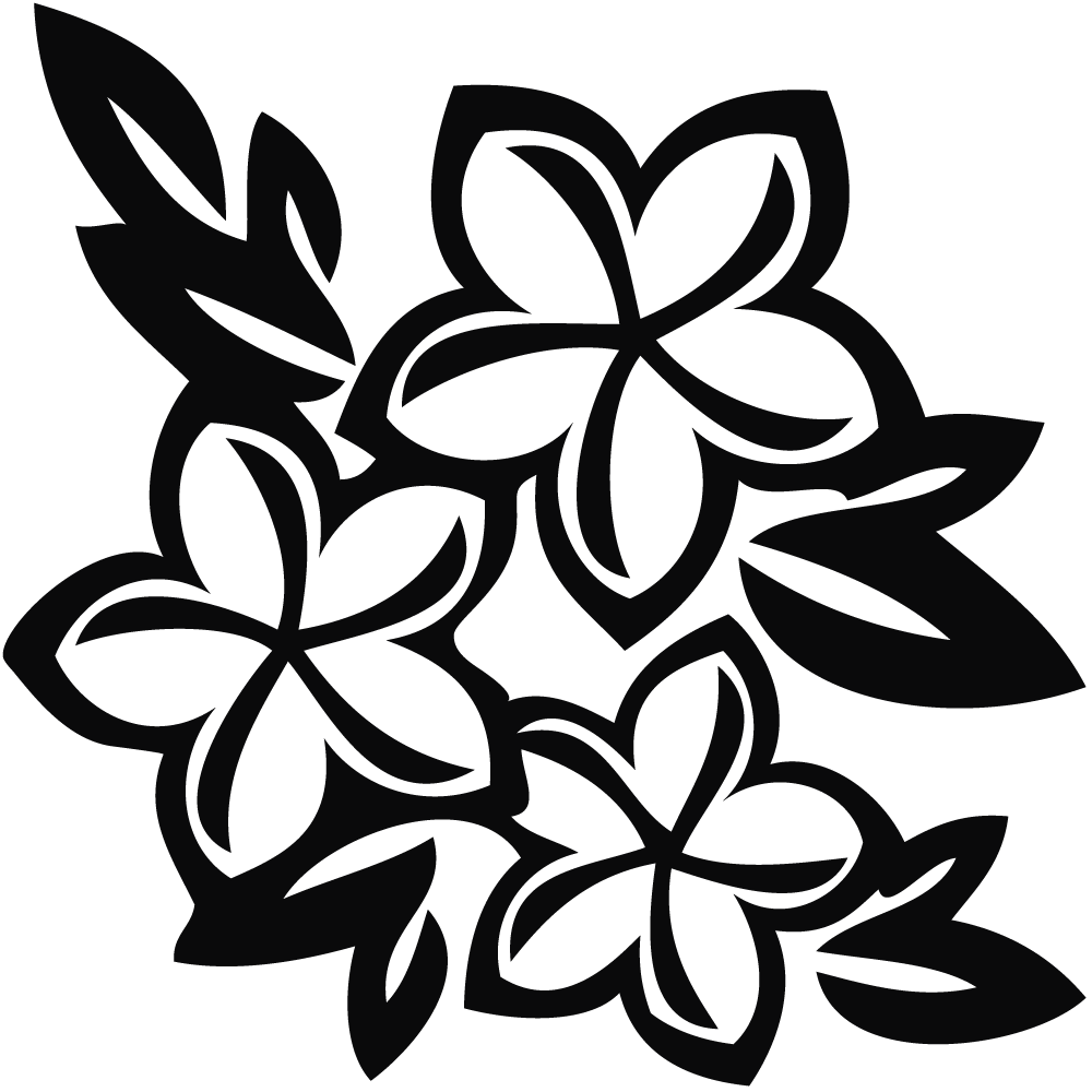 Hawaiian Flower Black And White Clip Art - ClipArt Best