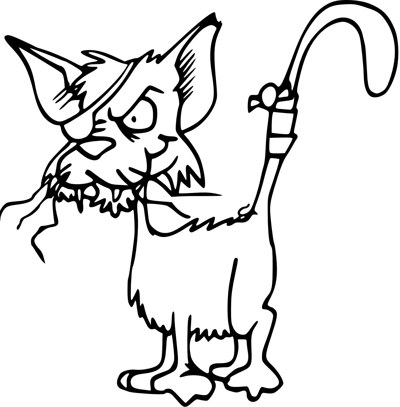 Line Drawing Kitten : Black and white drawings of cats clipart best