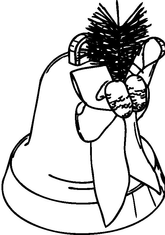 Christmas Flower Line Drawing : Clip art christmas bell black white line