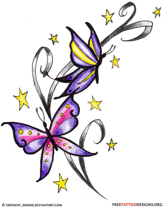 butterfly star tattoo clipart best. Black Bedroom Furniture Sets. Home Design Ideas