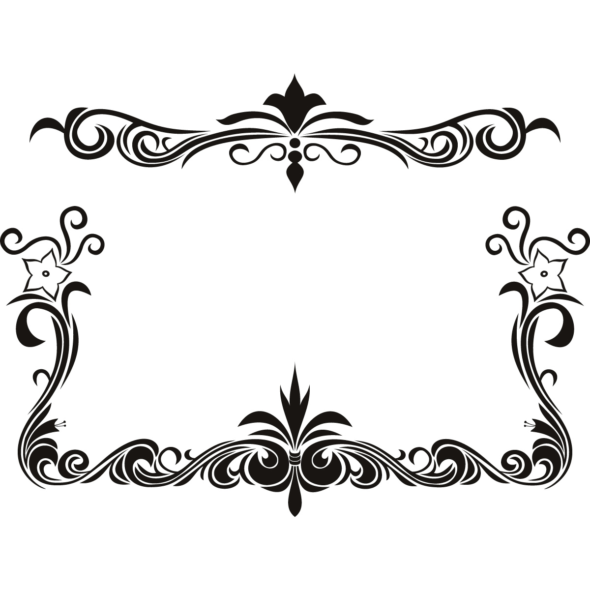 Line Art Border Designs : Flower line borders clipart best