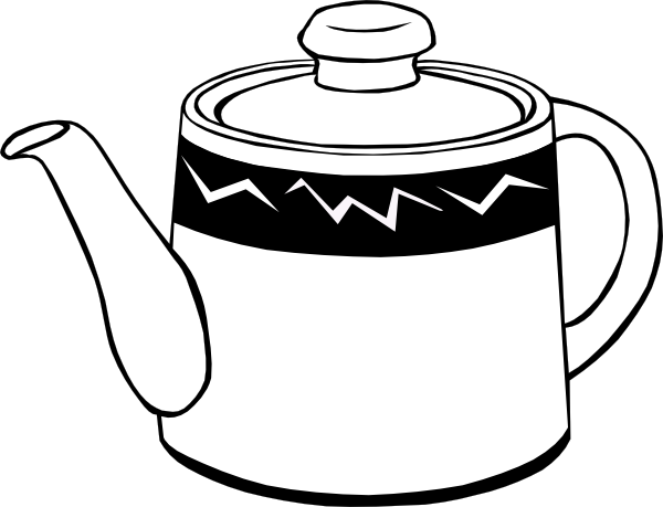 tea cup clipart black and white - photo #24
