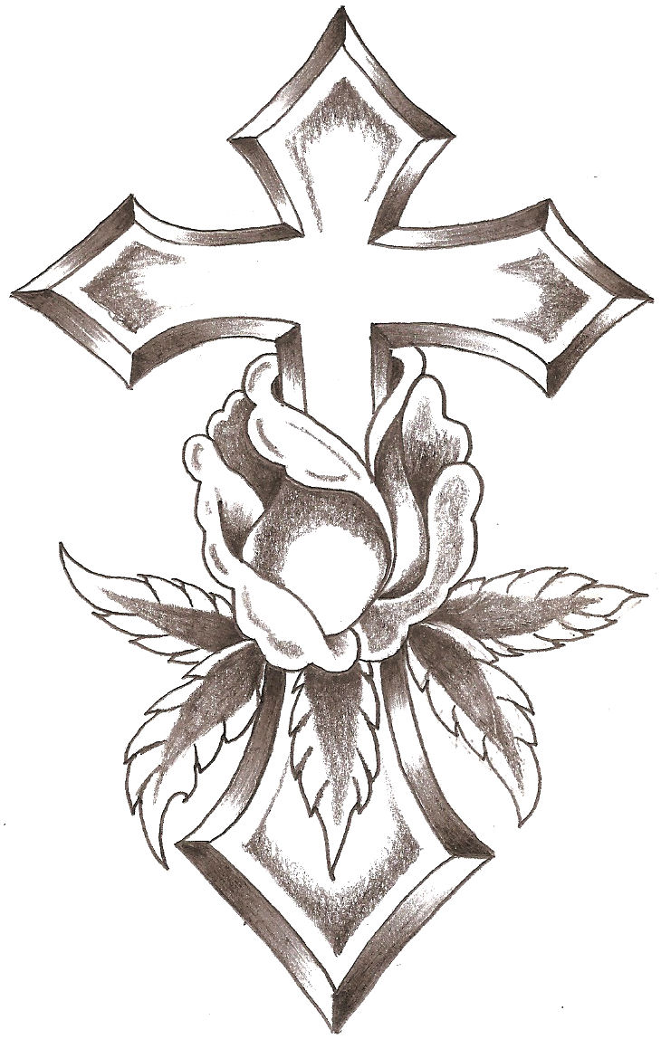 Drawings Of Roses And Crosses - ClipArt Best