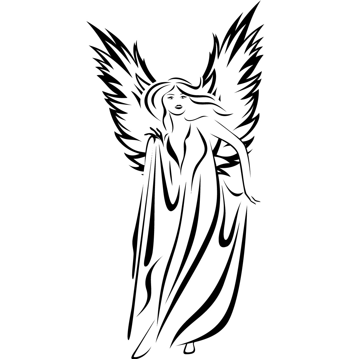 Line Art Angel : Angel line drawings clipart best