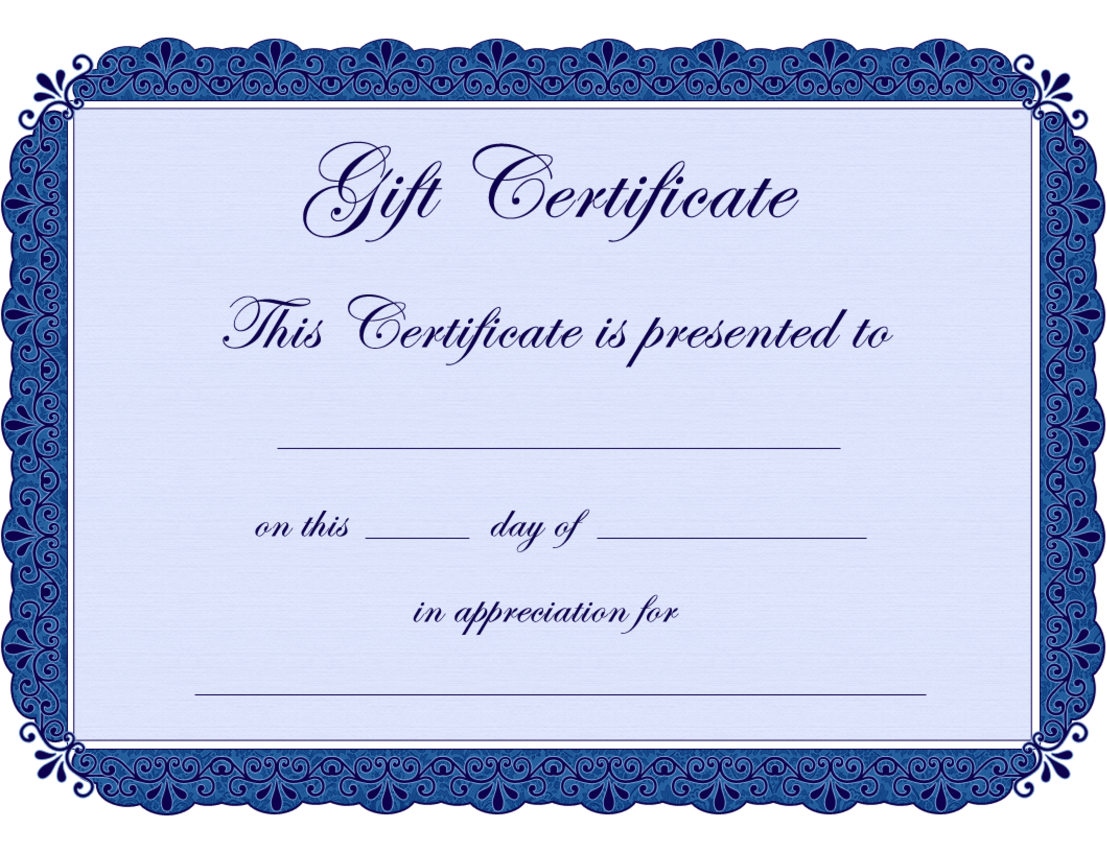 Blank printable certificates clipart best for Free blank gift certificate