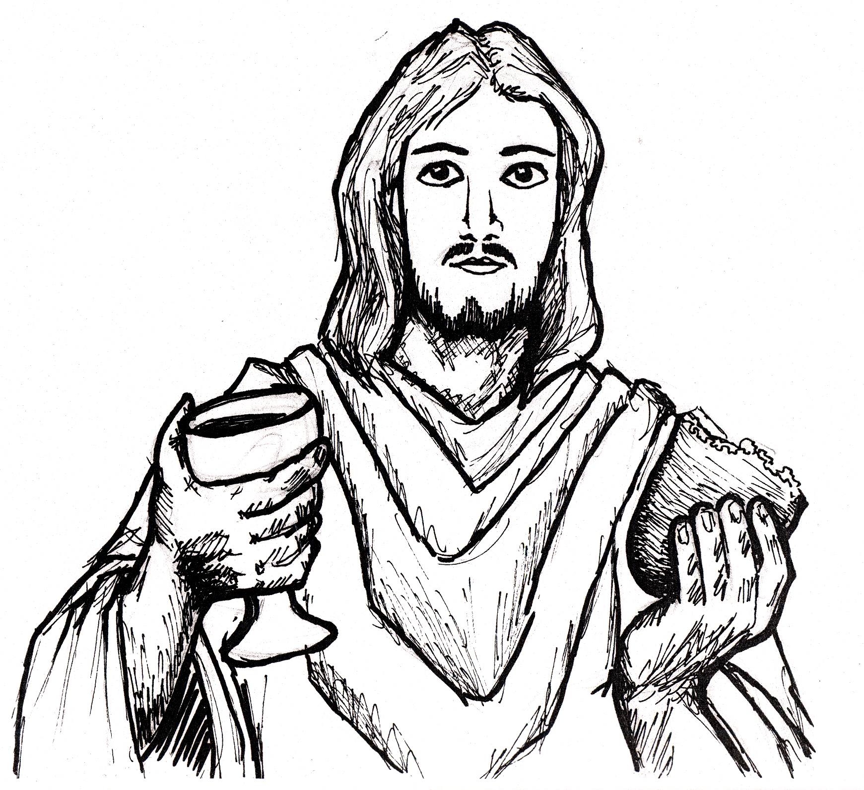 Line Art Jesus : Jesus line drawing clipart best