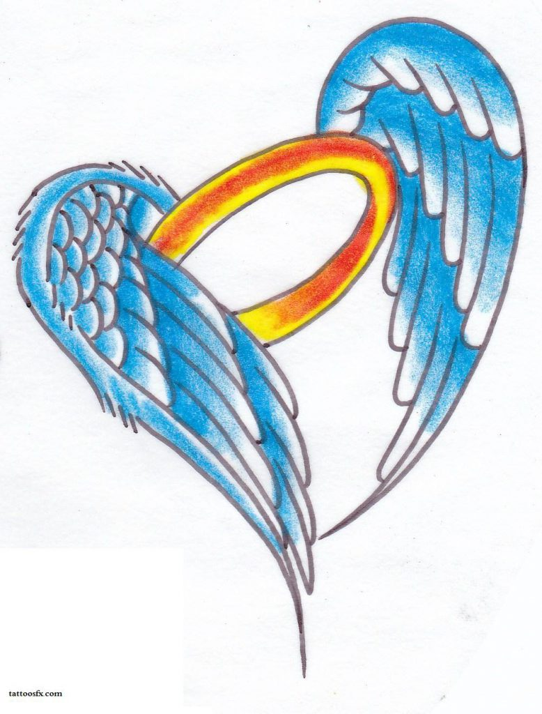 Angel wings with halo tattoo clipart best for Angel wings tattoo with halo