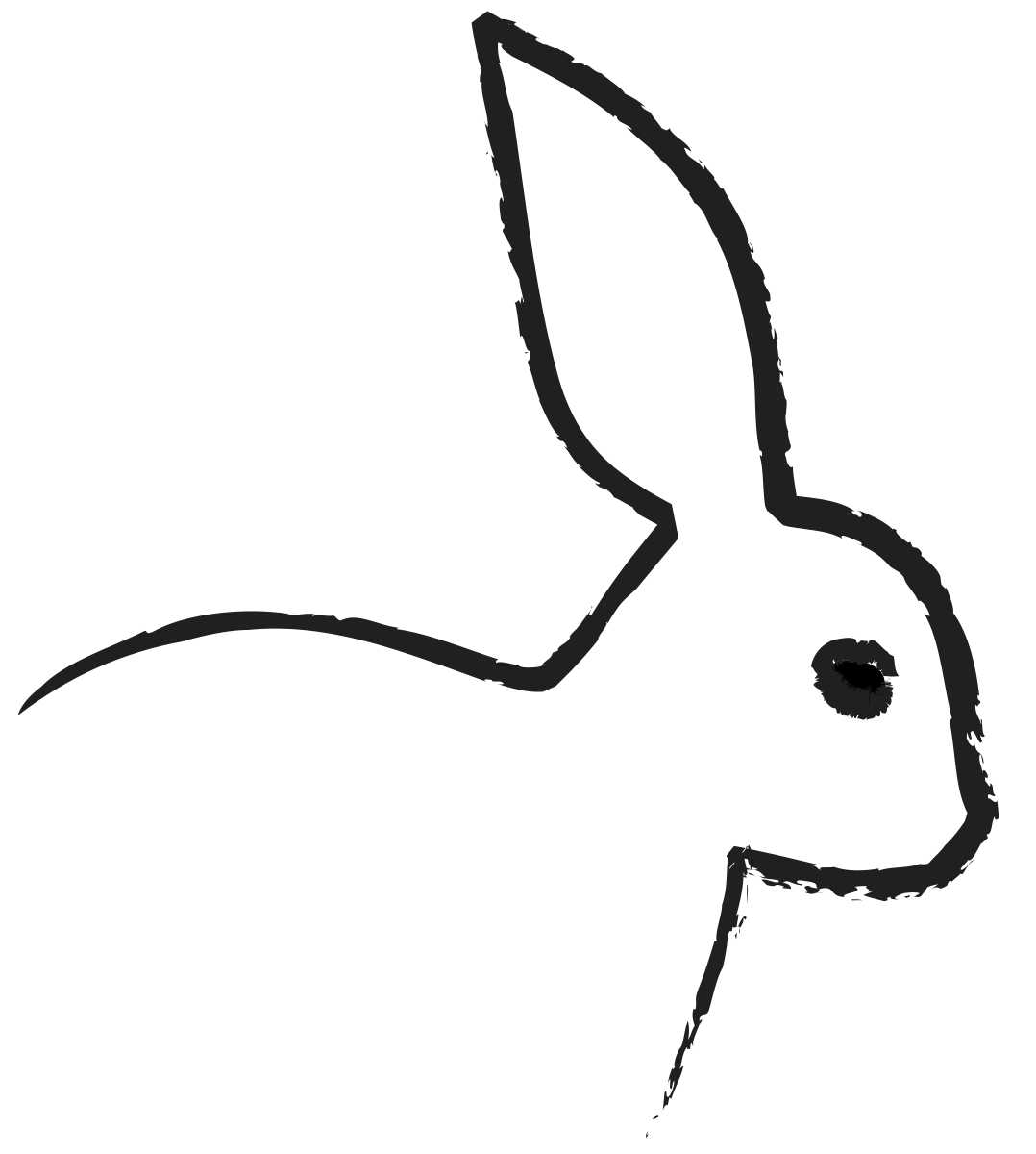 Pervasive Clip Art : Outline of a bunny clipart best