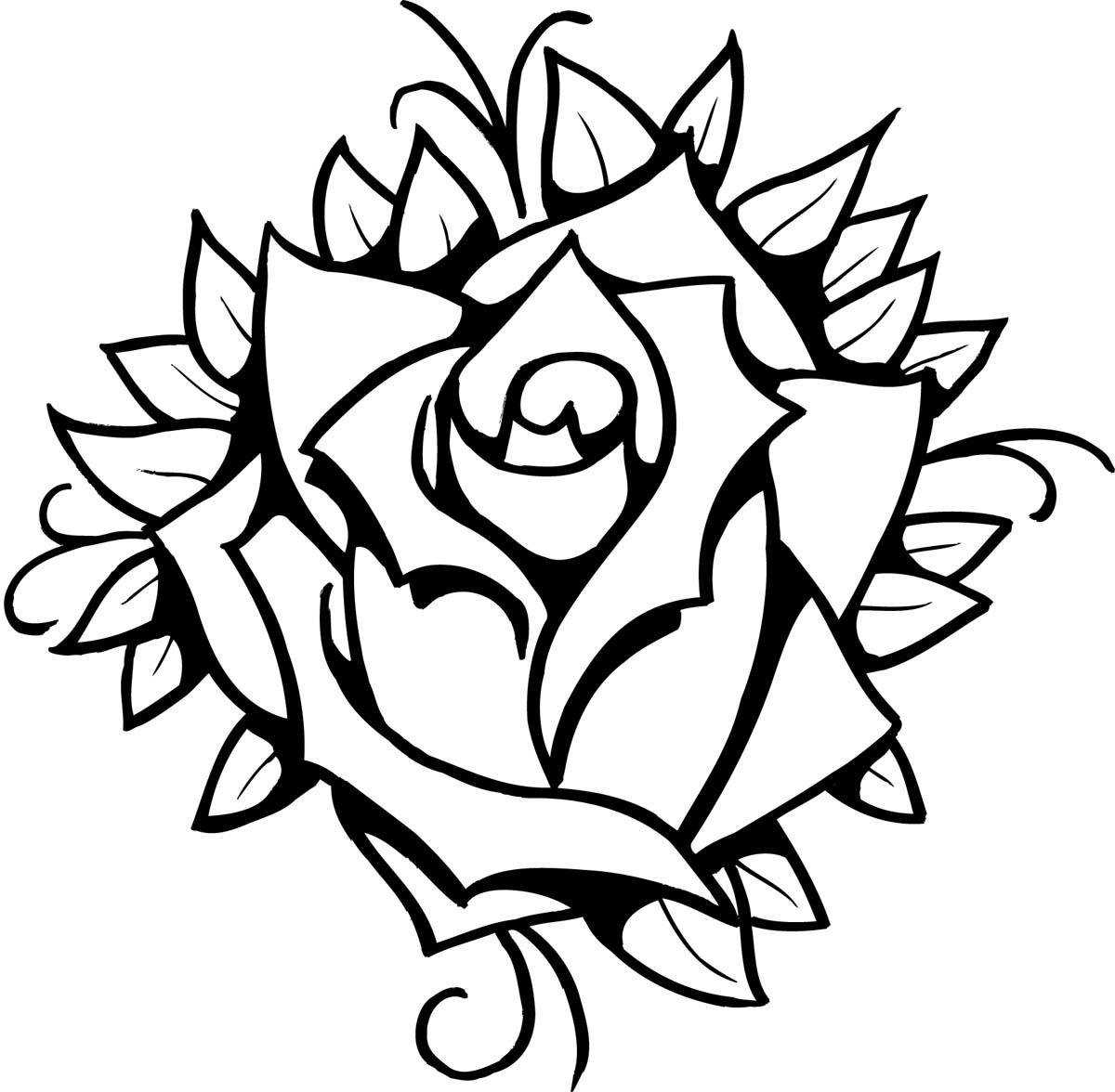Line Art Rose Tattoo : Rose line drawing clipart best