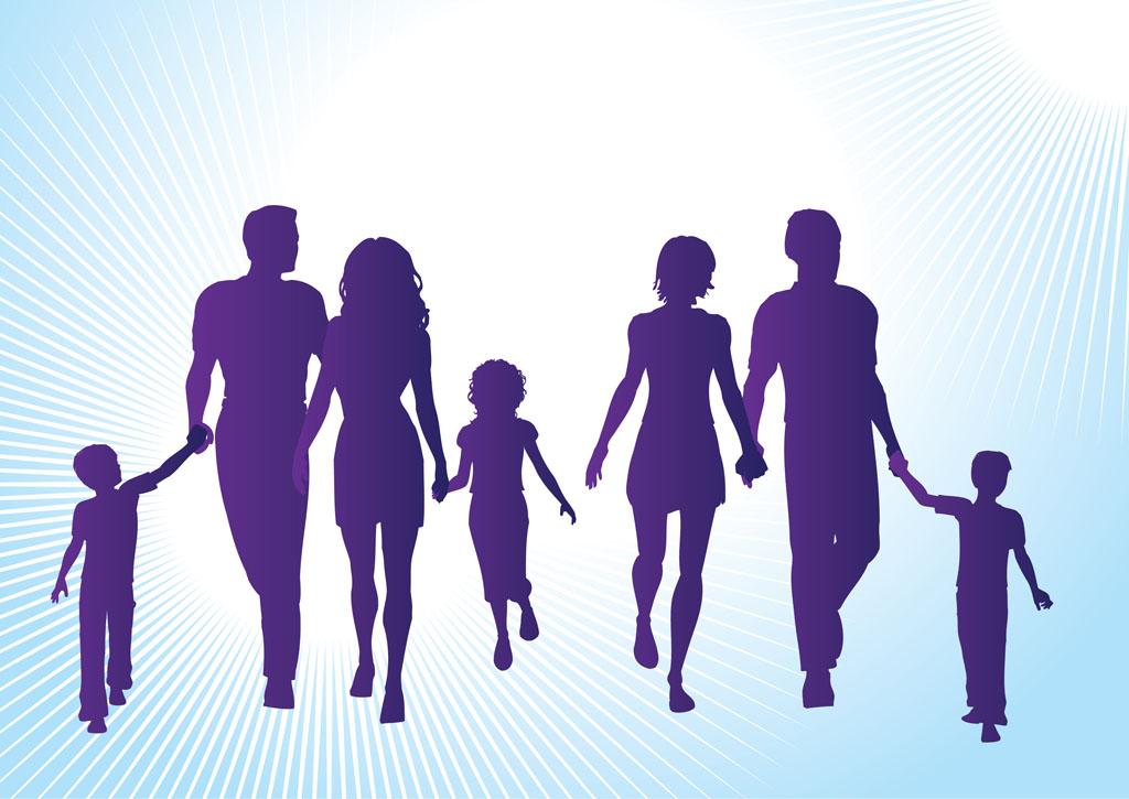 Clip Art Silhouette Family