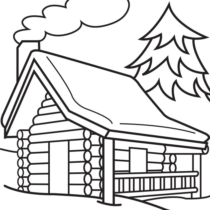 Log cabin coloring page clipart best Cabin drawings