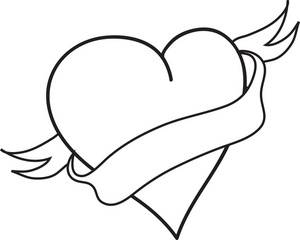heart clipart image coloring page