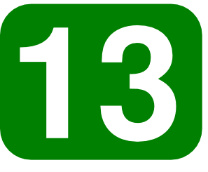 Green Rounded Rectangle With Number 13 clip art Free Vector