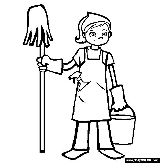 Clean The House Black And White Clipart